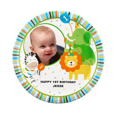 Sweet Safari Blue 1st Birthday Personalized Dinner Plates