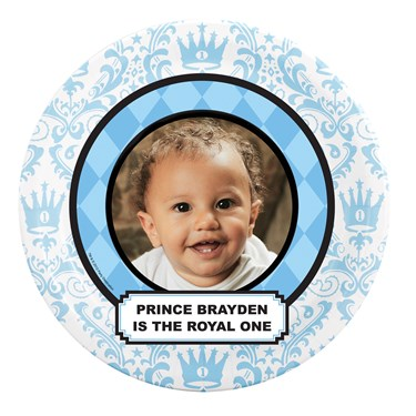 Elegant Prince Damask 1st Birthday Personalized Dinner Plates