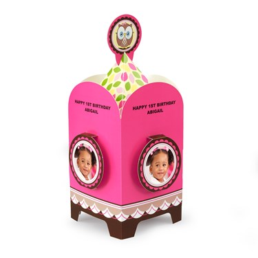 Look Whoo's 1 - Pink Personalized Centerpiece
