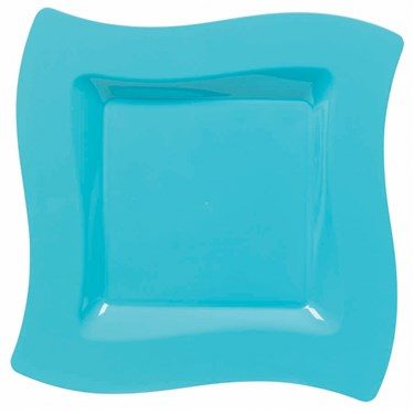 Caribbean Blue Wavy Square Plastic Dinner Plates