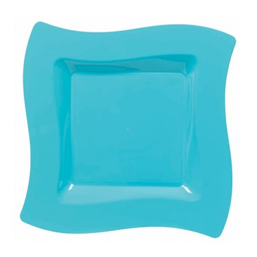 Caribbean Blue Wavy Square Plastic Dessert Plates