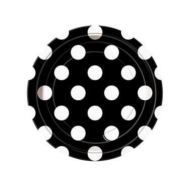 Black and White Dots Dessert Plates (8)