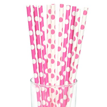 Pink and White Dot Straws (10)