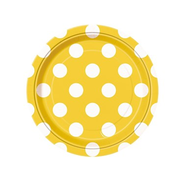 Yellow and White Dots Dessert Plates (8)