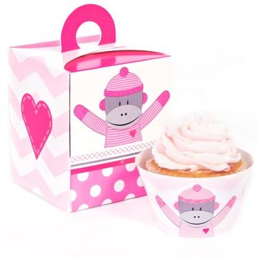 Sock Monkey Pink Cupcake Wrapper Combo Kit