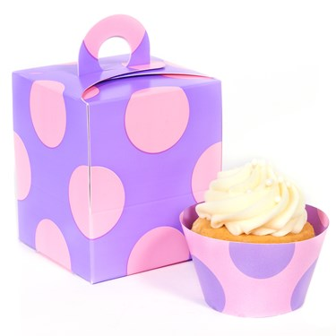 Lavendar with Pink Dots Cupcake Wrapper Combo Kit