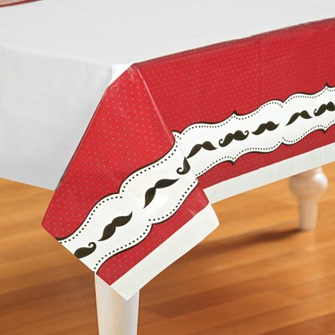 Mustache Madness Plastic Tablecover
