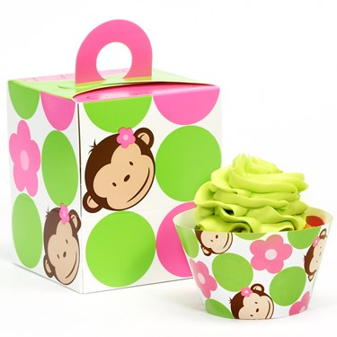 Pink Mod Monkey Cupcake Wrapper & Box Kit