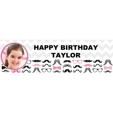 Pink Mustache Personalized Photo Vinyl Banner