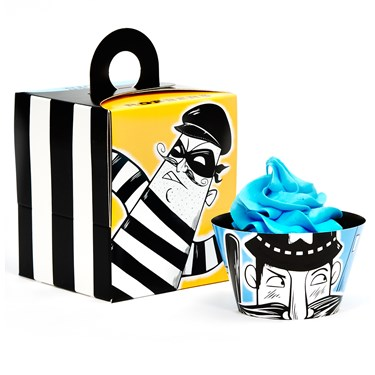 Cops and Robbers Party Cupcake Wrapper & Box Kit