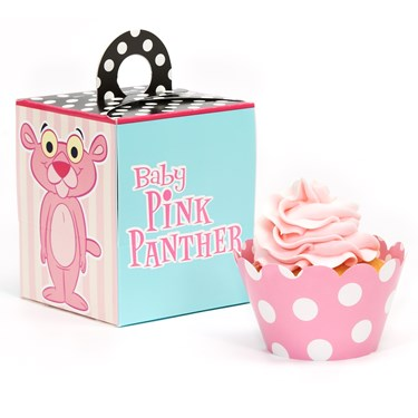 Baby Pink Panther Cupcake Wrapper & Box Kit