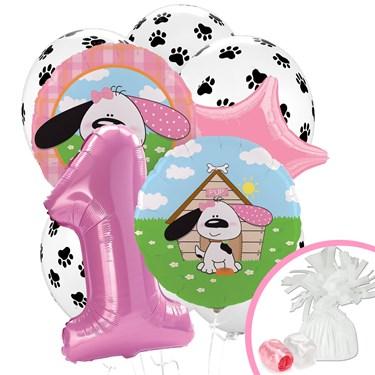 Playful Puppy Pink 1st Birthday Balloon Bouquet