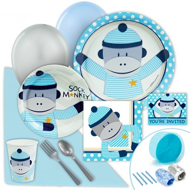 Sock Monkey Blue Just Because Party Pack for 8