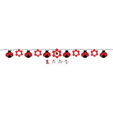 Ladybug Fancy Ribbon Flag Banner