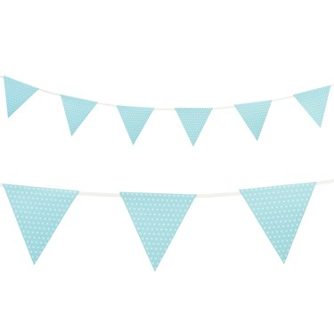 Pastel Blue with Polka Dots - Paper Flag Banner (1)