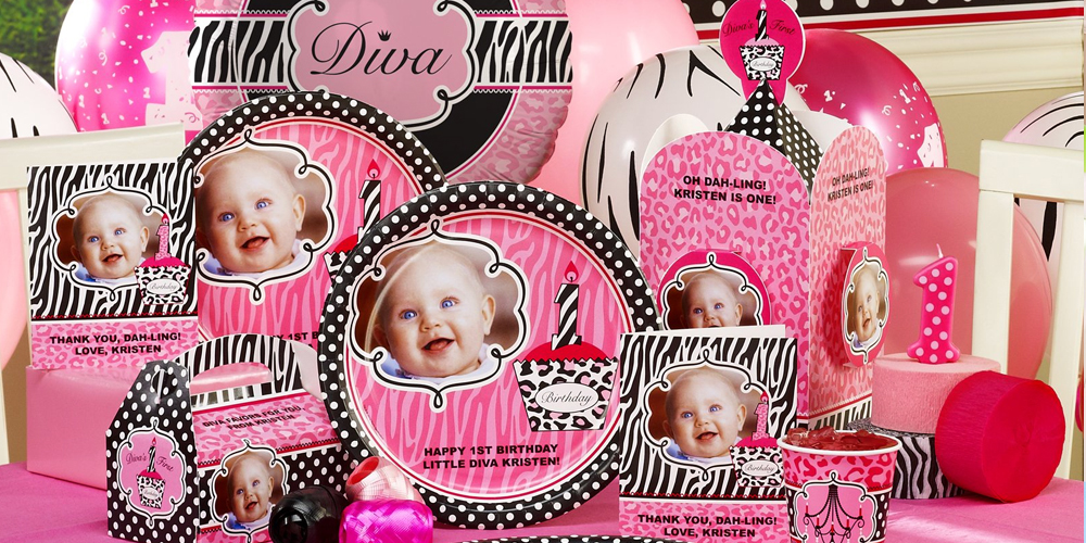 Alt. Image (1) - Diva Zebra Print 1st Birthday Personalized Party in a ...