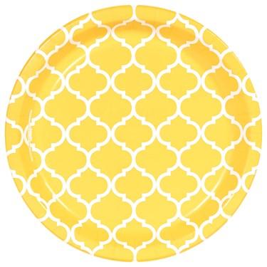 School Bus Yellow Quatrefoil Dinner Plates (8)