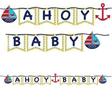 Ahoy Matey Ribbon Shaped Banner