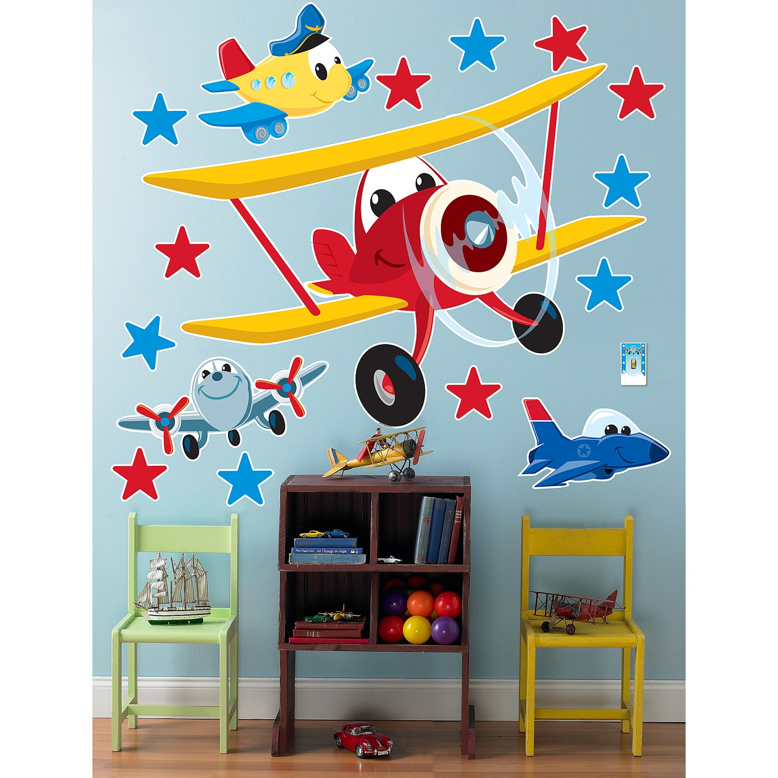 Airplane adventure giant wall decals for Aeroplane wall mural