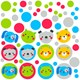 Alt. Image (1) - Animals and Dots Small Wall Decal