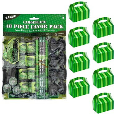 Army Camo Filled Favor Box Kit  (For 8 Guests)