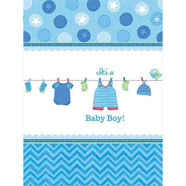 Baby Shower Boy Shower With Love Plastic Tablecover