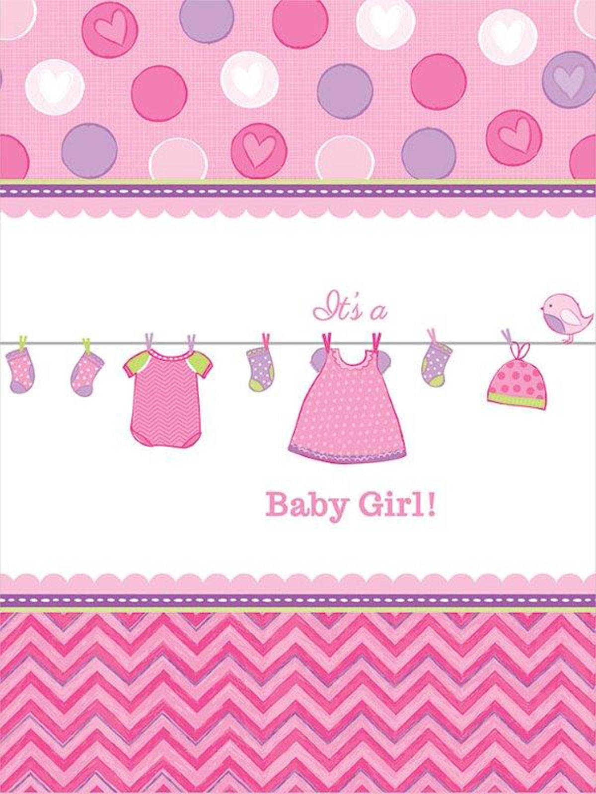 Baby Shower Girl Shower With Love Plastic Tablecover