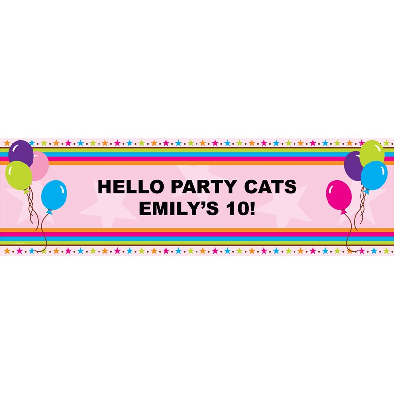 Balloons And Stars Personalized Vinyl Banner