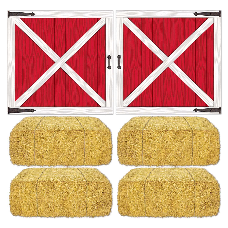 Red Barn Doors Clip Art barn loft door and hay bale props add-ons | birthdayexpress