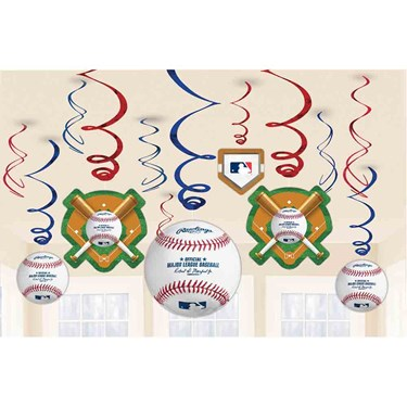 Baseball Foil Swirl Decorations (12)