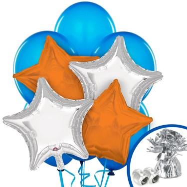 Orange and Silver Balloon Bouquet