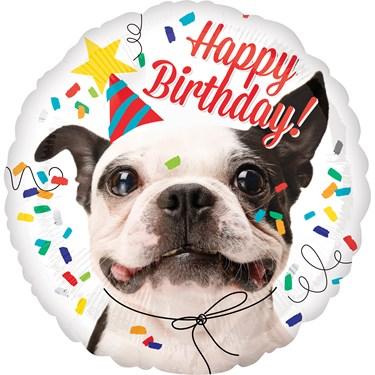 Birthday Dog Round Foil Balloon