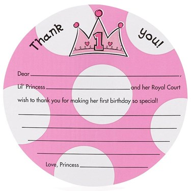 Birthday Princess 1st - Thank-You Notes