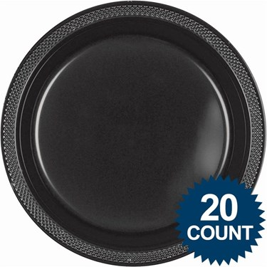 Black 10 Plastic Dinner Plates (20)