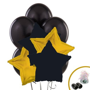 Black & Gold Star Balloon Bouquet