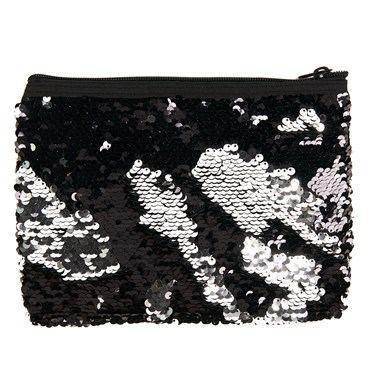 Black & Silver Sequin Pouch