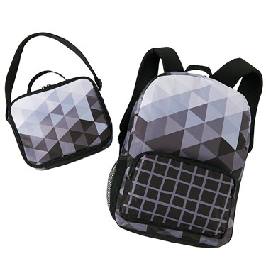 Black & White Fractal Backpack & Lunch Tote