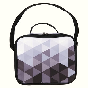 Black & White Fractal Canvas Lunch Tote