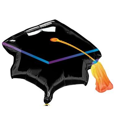 """Black Grad Cap Graduation 31"""" Foil Balloon"""