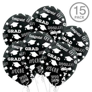Black Graduation Latex Printed Balloons (15 Count)