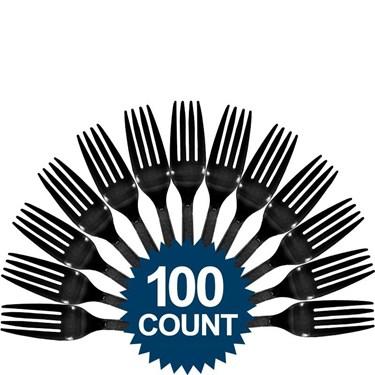 Black Plastic Forks (100)