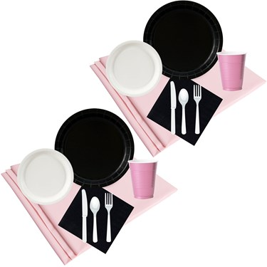 Black White & Pink Party Pack (48)