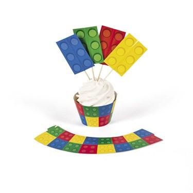 Block Party Cupcake Collars W/ Picks(100)