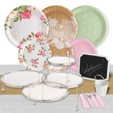 Blooming Elegance 32 Guest Pack & Serveware