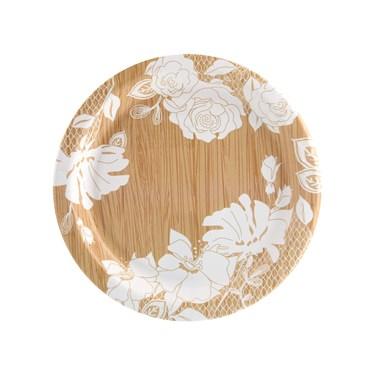 Blooming Elegance Wood Floral Dessert Plate (8)