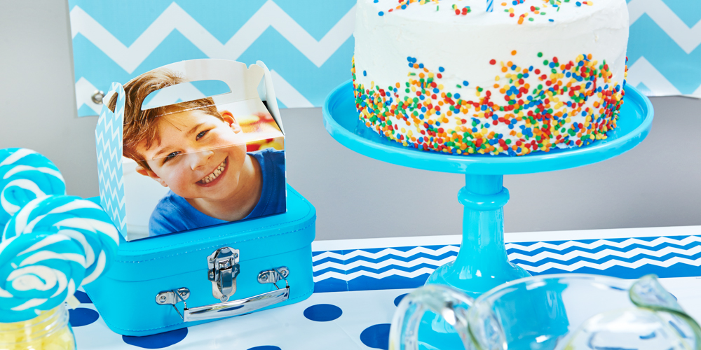 blue and white chevron design your own party in a box