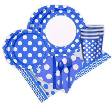 Blue and White Dots Party Pack (16)
