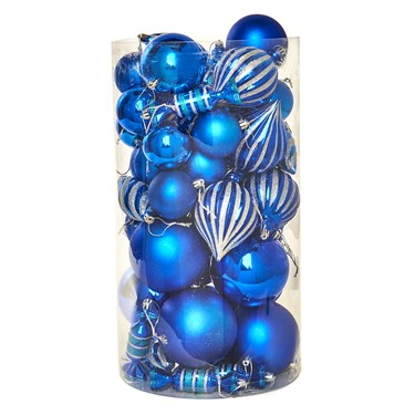 Blue Assorted Ornament Set (48)