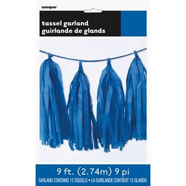 Blue Tissue Tassel 9' Garland