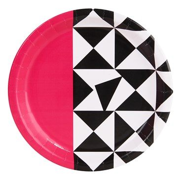 Bold Geometric Pink Dinner Plate (8)
